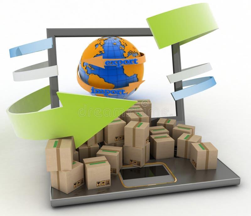Importi ed esporti la freccia intorno a terra per l'affare illustrazione vettoriale