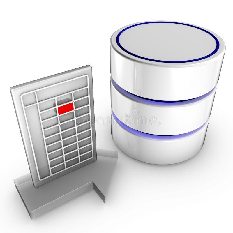 Importieren Sie Daten in eine Datenbank lizenzfreie abbildung