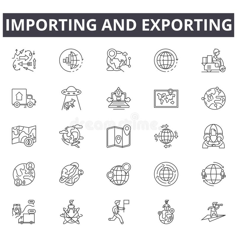Importing and exporting concept line icons, signs, vector set, linear concept, outline illustration royalty free illustration