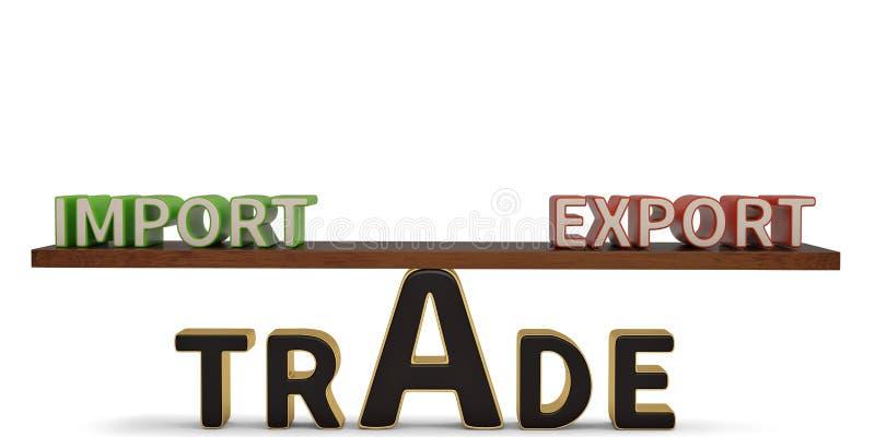 Importowi eksportowego handlu słowa na seesaw ilustracja 3 d ilustracji
