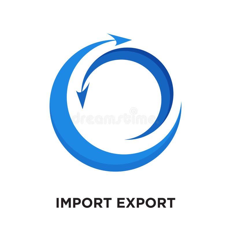 importowy eksportowy logo odizolowywający na białym tle dla twój sieci, mo ilustracji