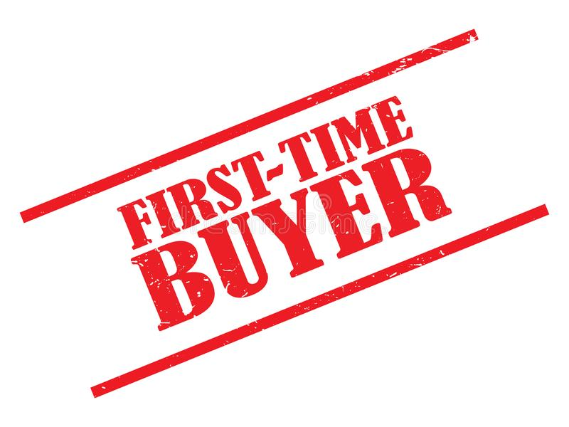 first time buyer stamp stock illustration