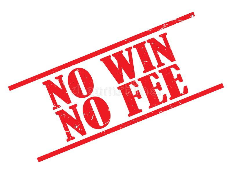 No win no fee stamp. On white stock illustration