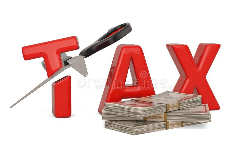 Imposez le mot et le concept de réduction des impôts de ciseaux d'isolement sur le backgrou blanc illustration stock