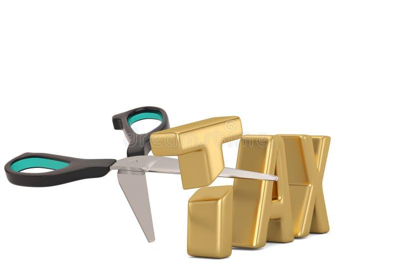 Imposez le mot et le concept de réduction des impôts de ciseaux d'isolement sur le backgrou blanc illustration libre de droits