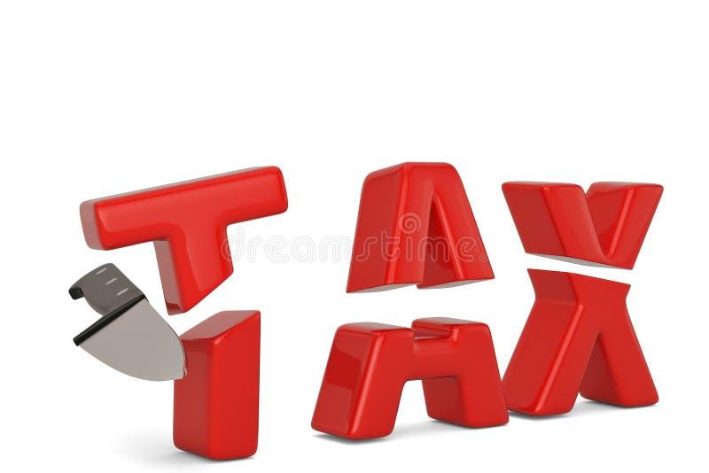 Imposez le mot et le concept de réduction des impôts de couteau d'isolement sur le fond blanc illustration de vecteur