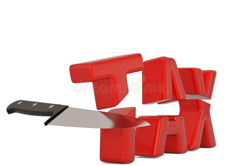 Imposez le mot et le concept de réduction des impôts de couteau d'isolement sur le fond blanc illustration libre de droits