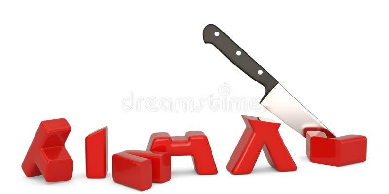 Imposez le mot et le concept de réduction des impôts de couteau d'isolement sur le fond blanc illustration stock
