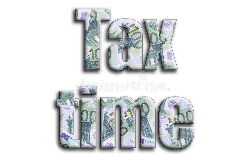 Imposez le temps L'inscription a une texture de la photographie, qui dépeint beaucoup de 100 euro factures d'argent illustration de vecteur