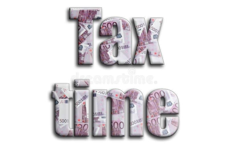 Imposez le temps L'inscription a une texture de la photographie, qui dépeint beaucoup de 500 euro factures d'argent illustration de vecteur