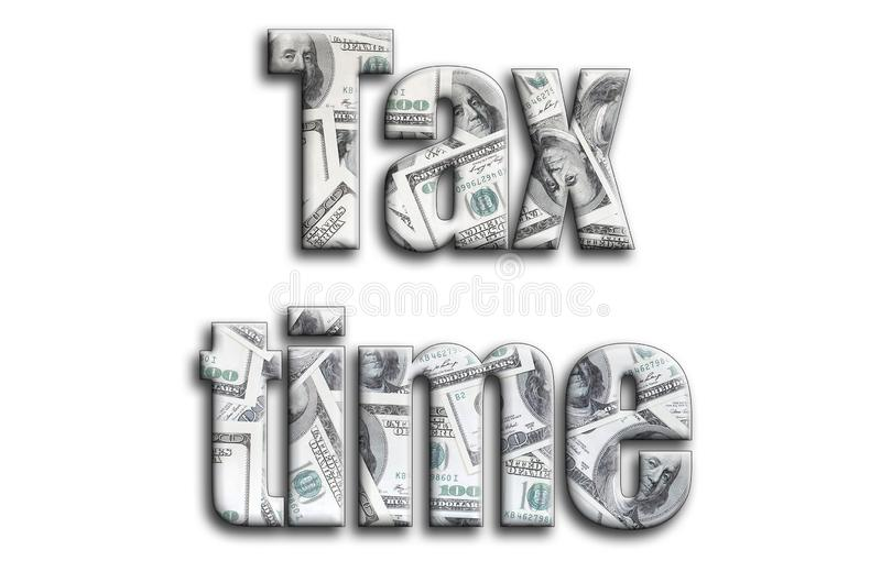 Imposez le temps L'inscription a une texture de la photographie, qui dépeint beaucoup de factures de dollar US illustration de vecteur