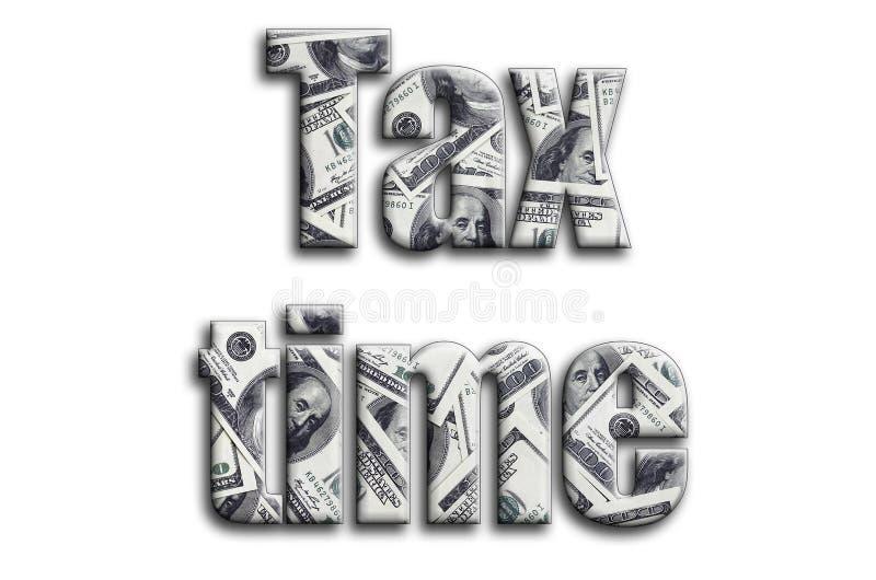 Imposez le temps L'inscription a une texture de la photographie, qui dépeint beaucoup de factures de dollar US illustration libre de droits
