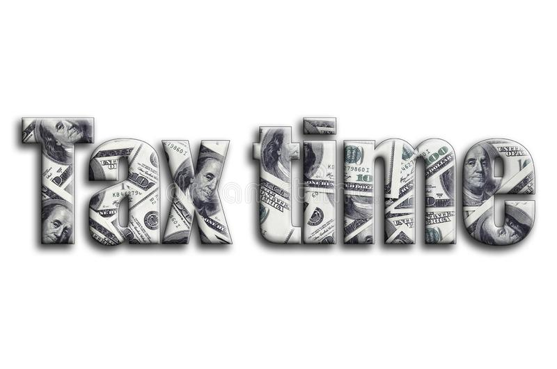 Imposez le temps L'inscription a une texture de la photographie, qui dépeint beaucoup de factures de dollar US illustration stock