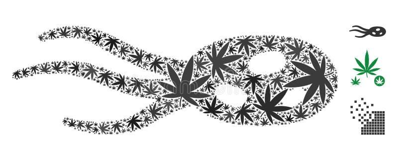 Imposez-vous le collage de micro-organisme des feuilles de chanvre illustration stock