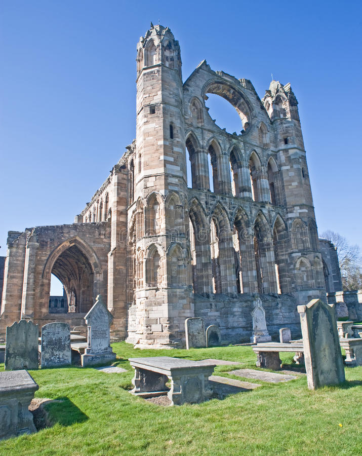 The imposing east front of Elgin Cathedral. stock photography