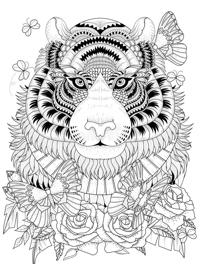 Download Imposing Tiger Adult Coloring Page Stock Vector