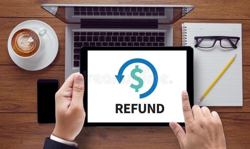 Imposition de devoir d'amende de REMBOURSEMENT et de remboursement d'impôt fiscal photo stock