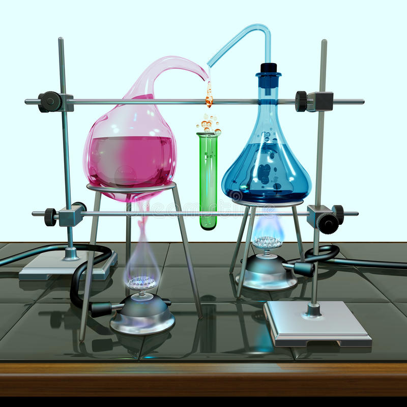 Impossible chemistry experiment royalty free illustration