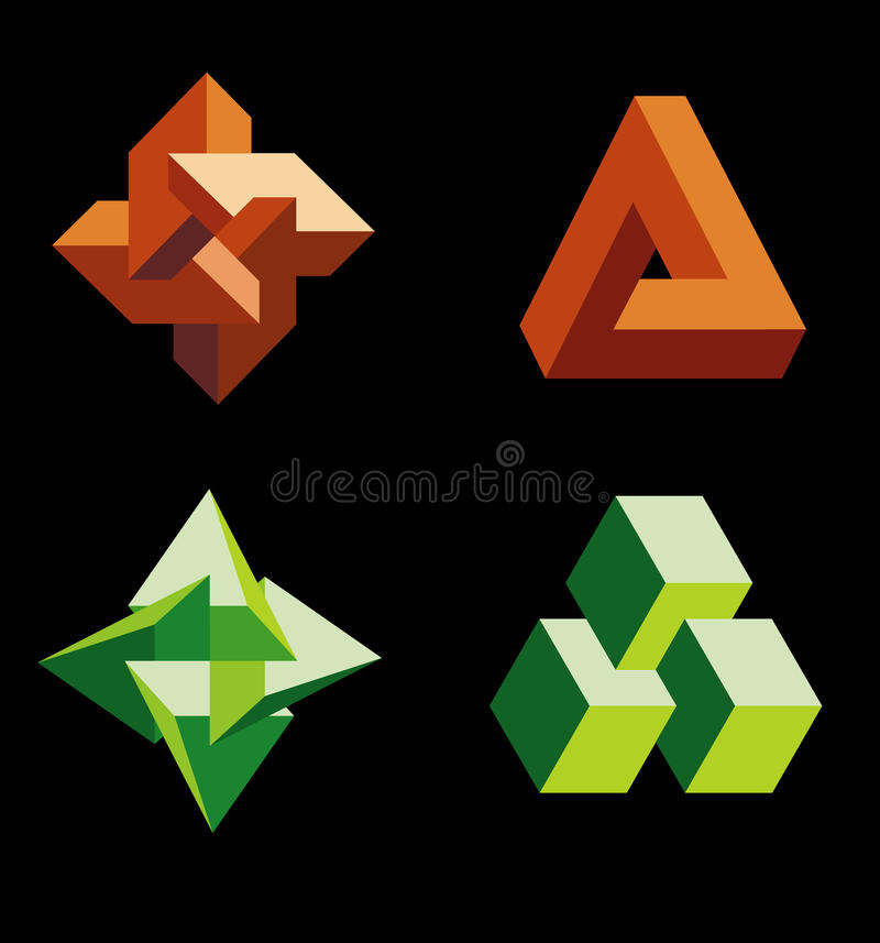 Impossible figures vector illustration