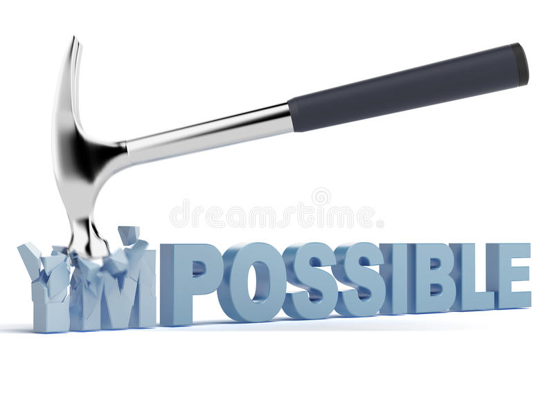 Impossible or possible. Isolated on a white background royalty free illustration