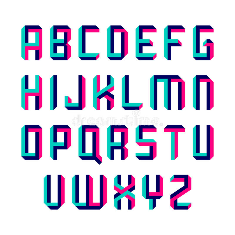 Impossible shape font royalty free illustration