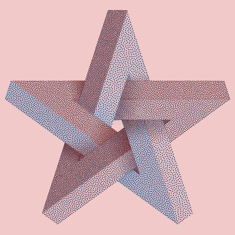 Impossible star with Black Dots. Impossible star on pink background. Unreal geometrical symbol for Your Business project. Vector. Dotwork Illustration stock illustration