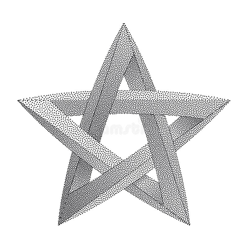 Impossible star with Black Dots. Impossible star on white background. Unreal geometrical symbol for Your Business project. Vector. Dotwork Illustration royalty free illustration