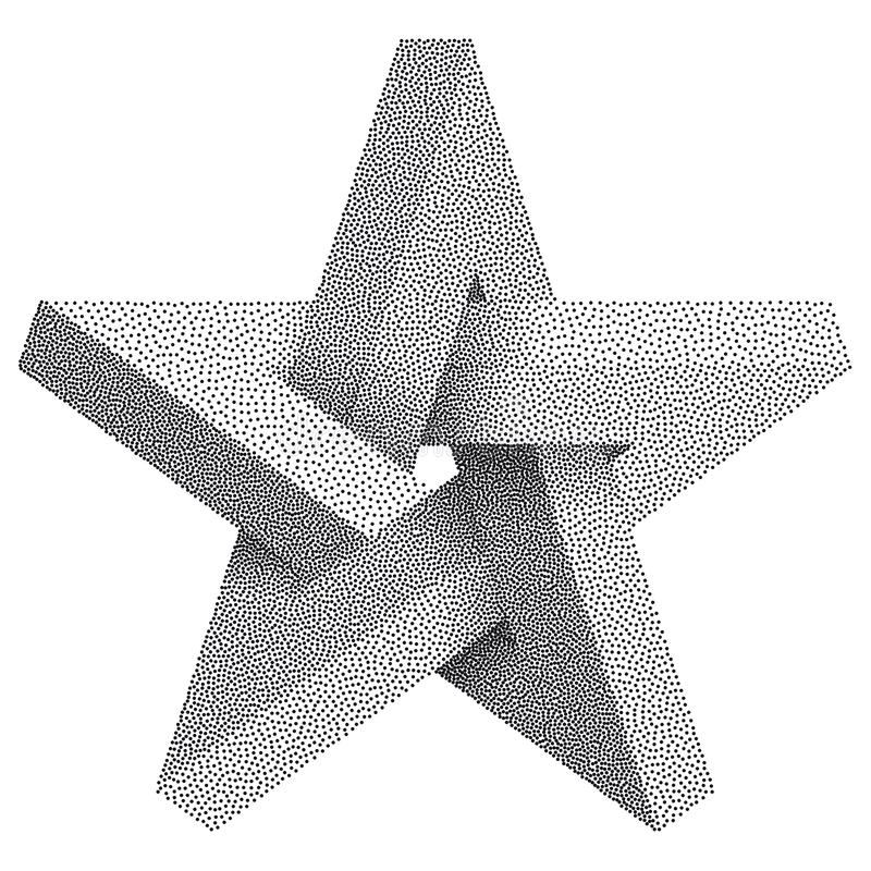 Impossible star with Black Dots. Impossible star on white background. Unreal geometrical symbol for Your Business project. Vector. Dotwork Illustration stock illustration