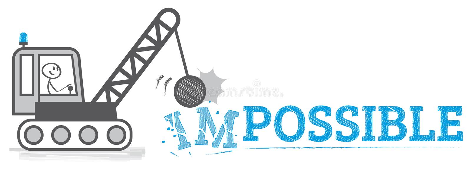 From impossible to possible. Stick figure change impossible to possible text vector illustration