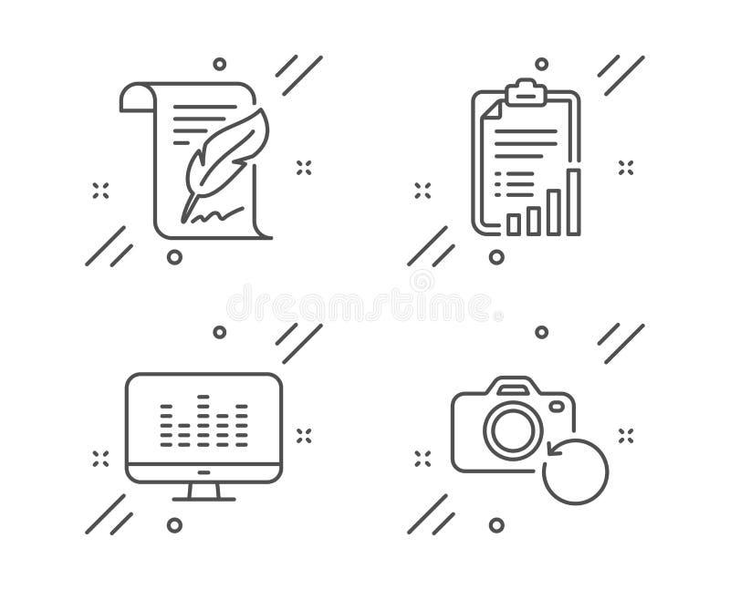 Imposta icone di Feather, Checklist e Music making Segnale fotografico di ripristino Pagina Copyright, report grafico, app Dj Vet illustrazione vettoriale