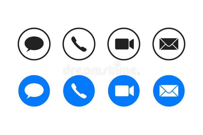 Imposta l'icona di contatto o di connessione, video di chiamata o icona di posta elettronica Per comunicazioni mobili o web Pulsa royalty illustrazione gratis