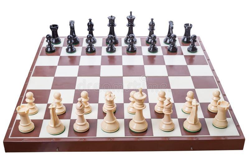 Impostazione della scheda di scacchi per cominciare un gioco fotografia stock