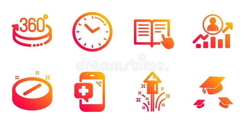 Impostazione delle icone Tempo, Scala Carriera e Lettura istruzione Segnali di Fireworks, Medical Phone e tablet Vettore royalty illustrazione gratis