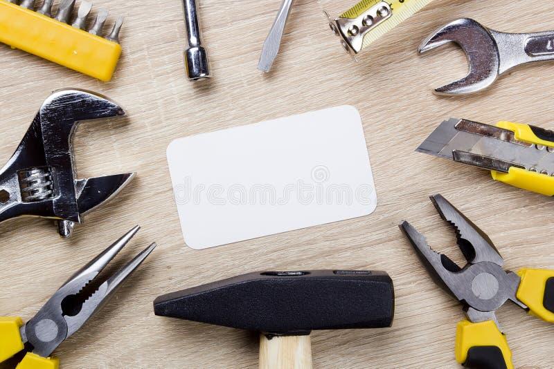 Imposti gli strumenti della costruzione fotografie stock libere da diritti
