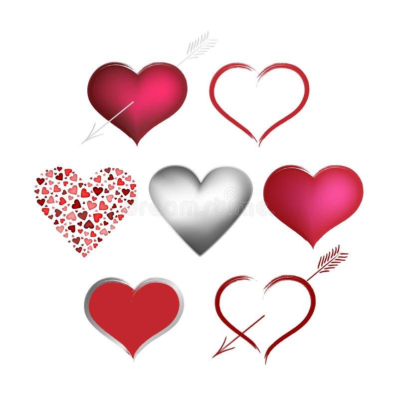 Imposti i cuori dei biglietti di S. Valentino royalty illustrazione gratis