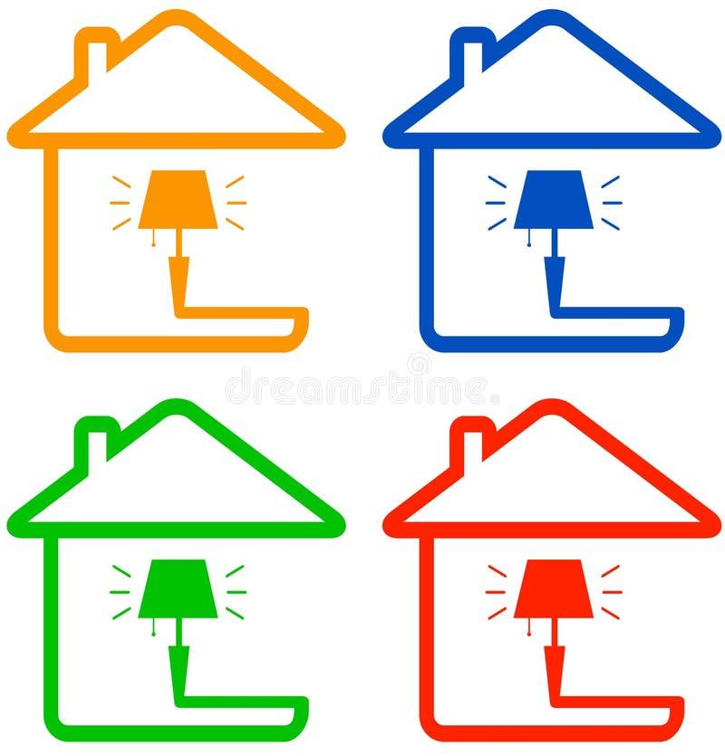 Imposti l'icona di colore con la lampada di pavimento royalty illustrazione gratis