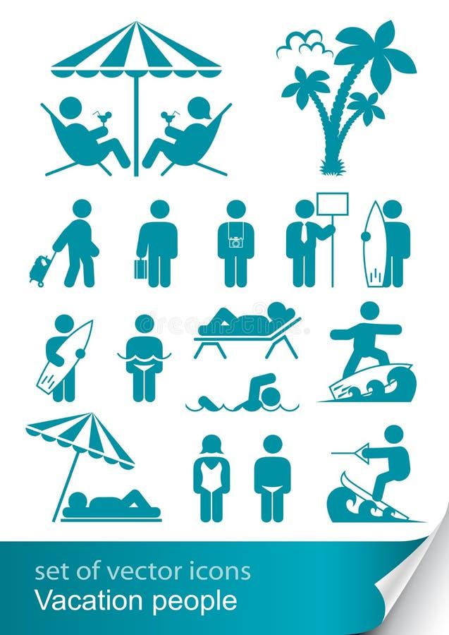 Imposti la gente di vacanza dell'icona illustrazione di stock