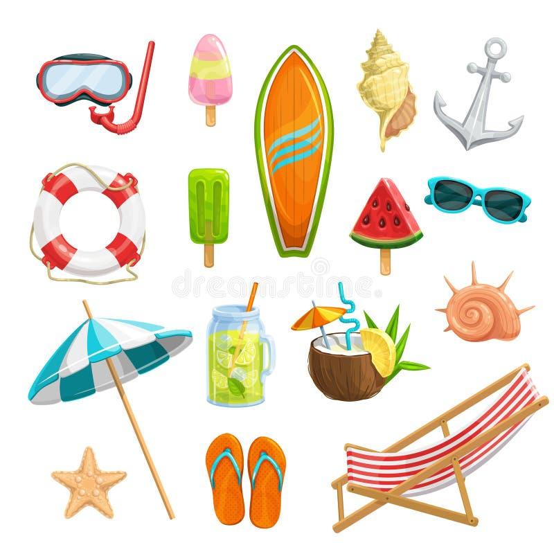 Imposti le icone di estate royalty illustrazione gratis