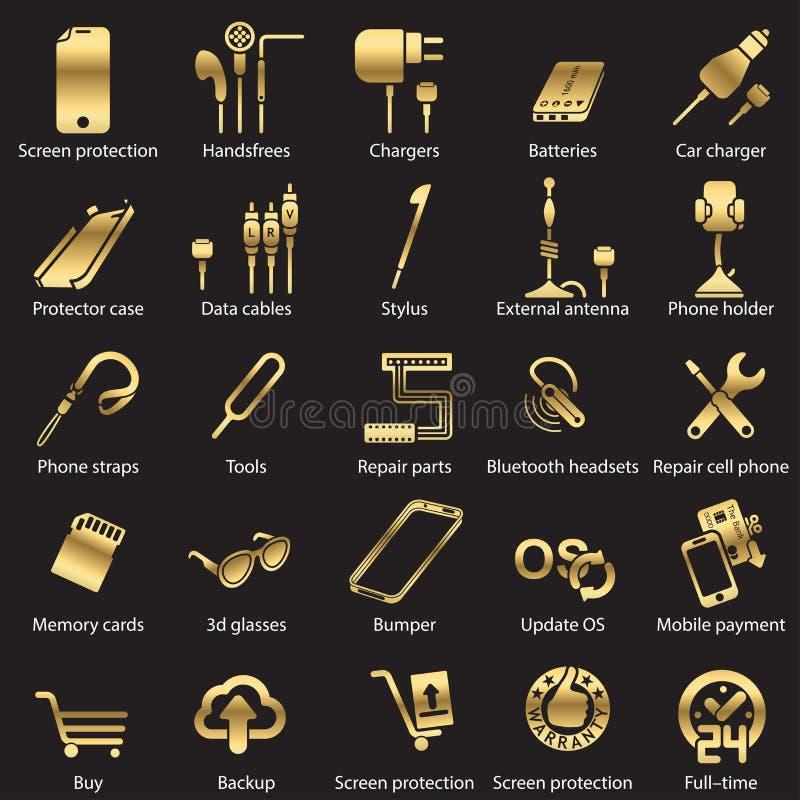 Imposti le icone mobili di Web del servise illustrazione di stock