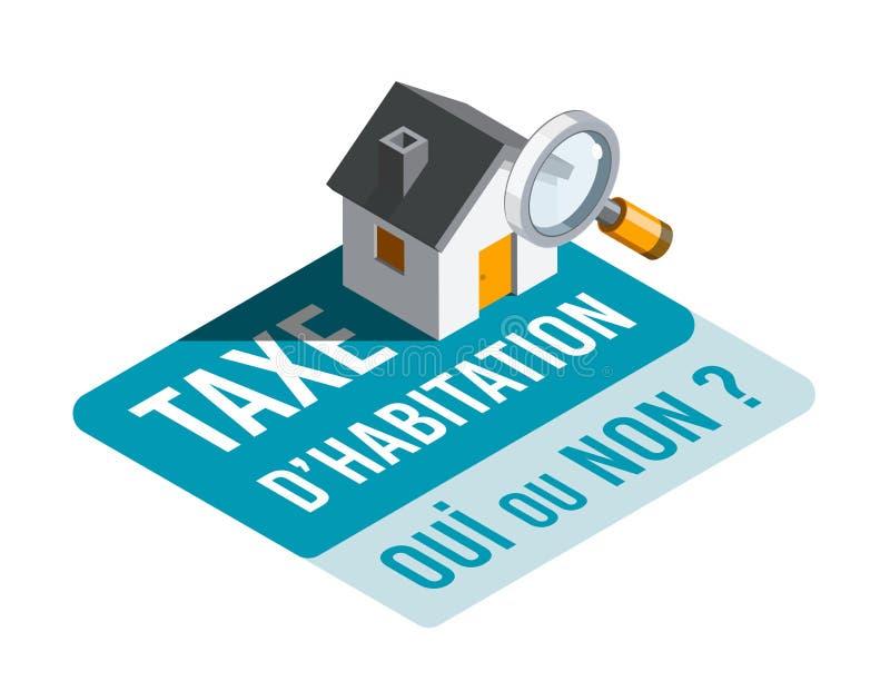 Imposto de alojamento, sim ou não? em francês: D'habitation de Taxe, OU de Oui não? ilustração stock