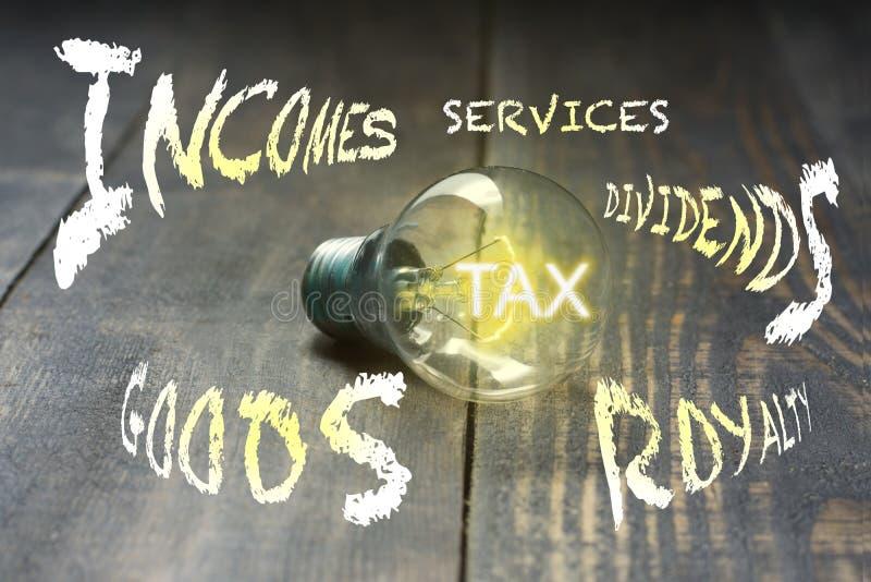 imposto Porque um bulbo ilumina sua luz, os impostos são impostos em transações do produtos e serviços, renda de negócio, interes fotografia de stock royalty free