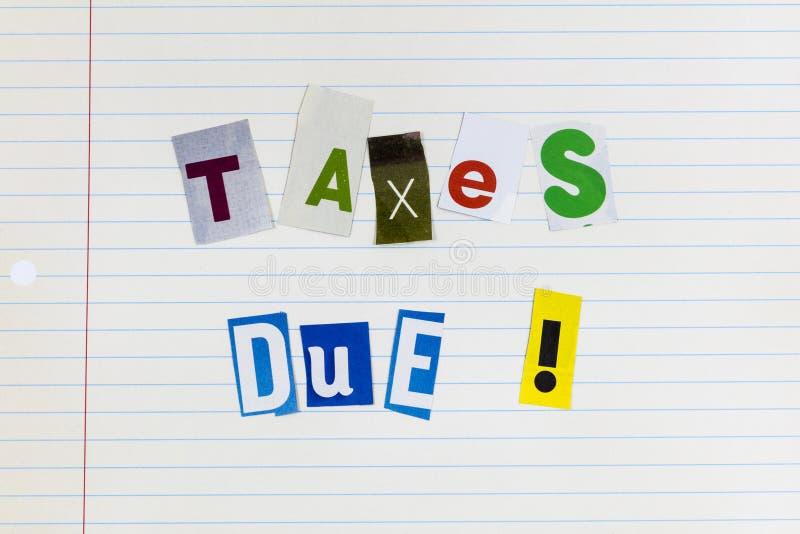 Imposto sobre o rendimento tempo devido pagamento de ameaça responsabilidade fotos de stock