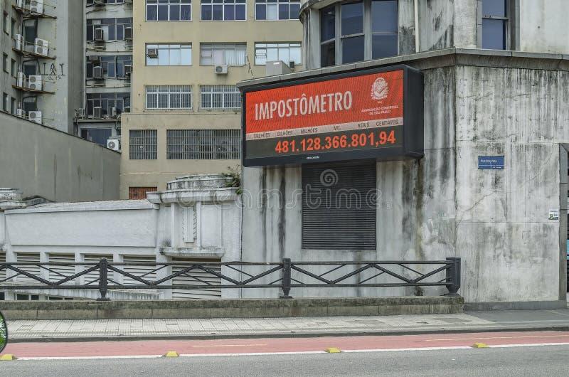 Impostometro de SP Brasil de Sao Paulo imagem de stock