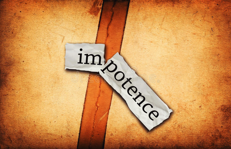 Impotence concept on old paper stock images