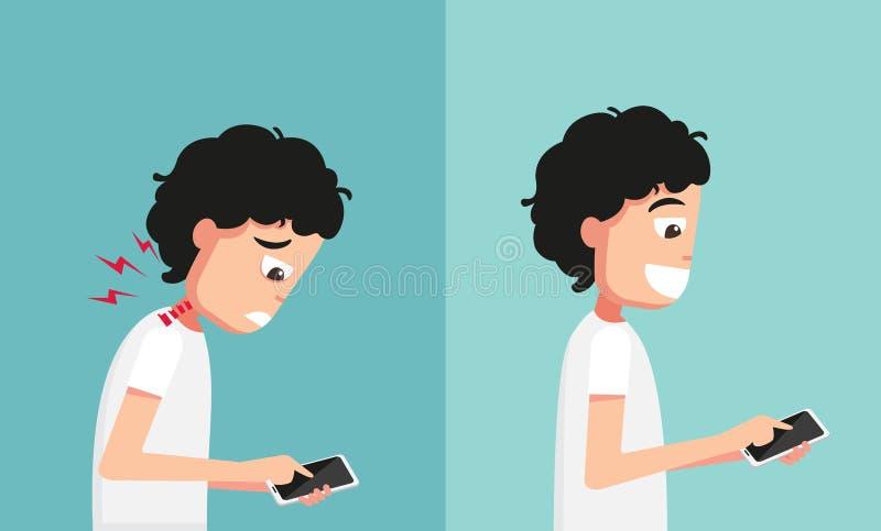 Impróprio contra a mão apropriada que guarda e que joga o telefone esperto ilustração royalty free