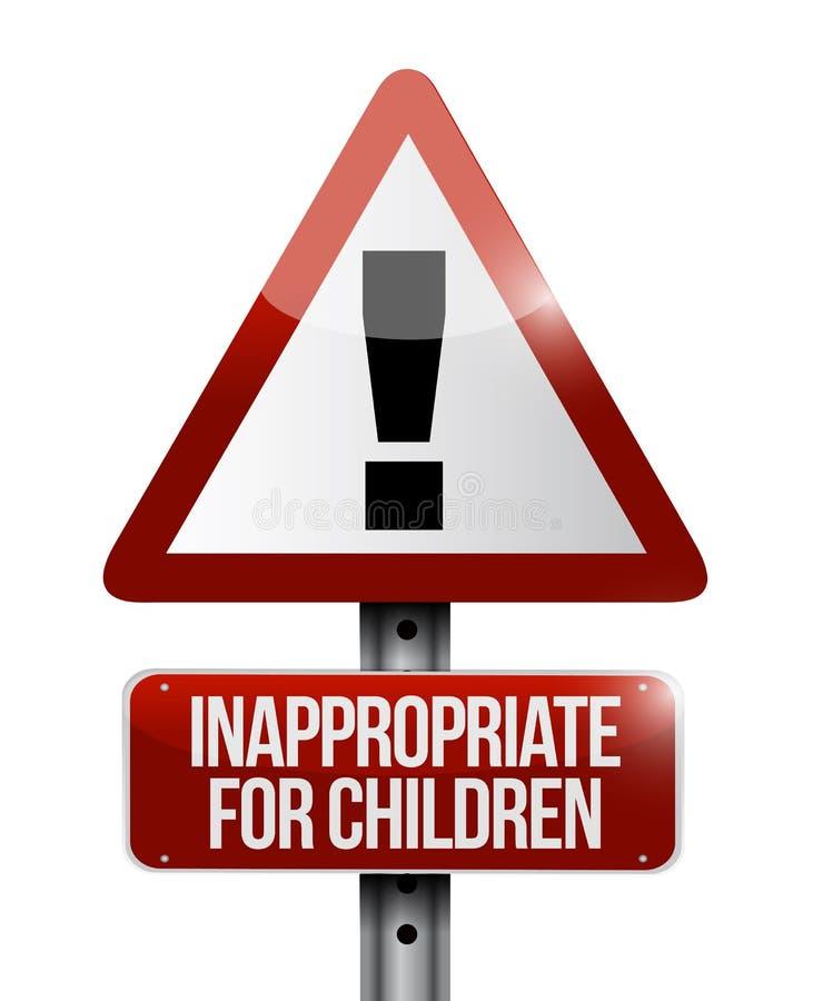 Impróprio para o sinal de aviso das crianças ilustração royalty free