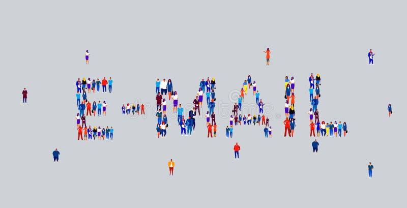 Imprenditori si riuniscono sotto forma di messaggio di posta elettronica diversi dipendenti illustrazione di stock