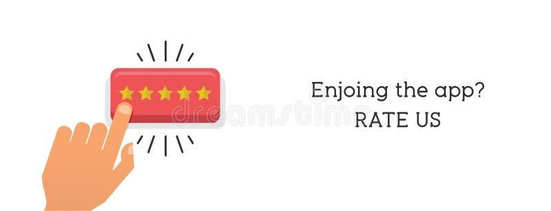 Imprensa da mão o botão da estrela Conceito da revisão do cliente Estrelas douradas de avaliação Feedback, reputação e conceito d ilustração royalty free