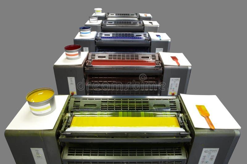Imprensa de impressão da cor cinco imagens de stock