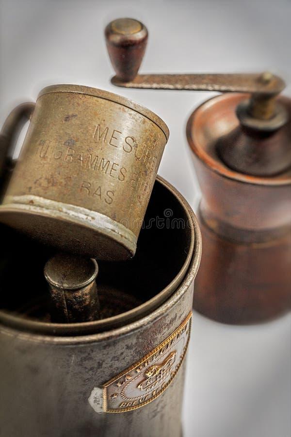 Imprensa do café das coisas da cozinha do vintage, atuador do café ou cafetière francês, - Kalyan foto de stock royalty free
